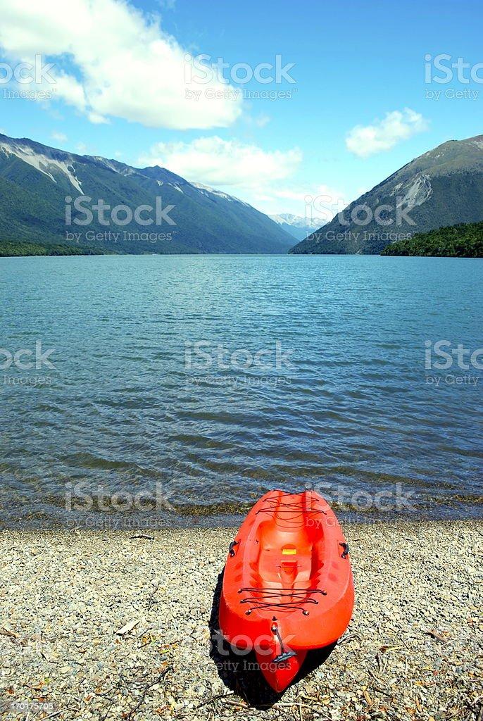 Kayak, Lake Rotoiti, Nelson Lakes National Park, NZ royalty-free stock photo