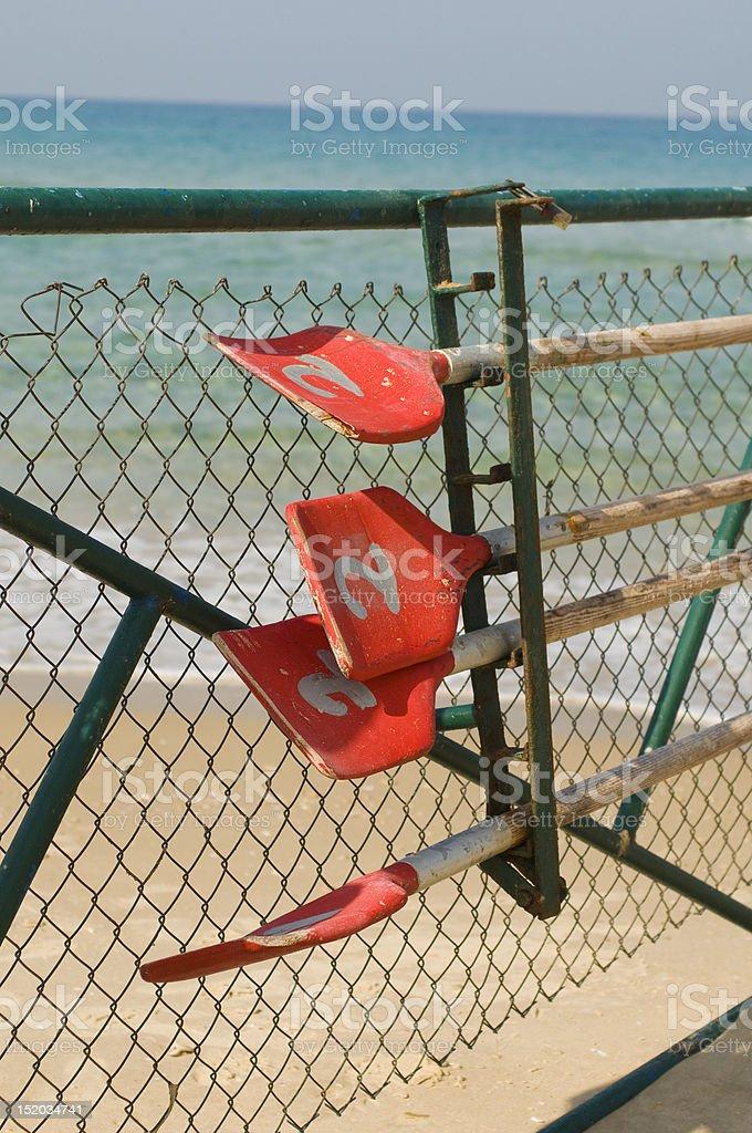 Kayak Oars on the beach royalty-free stock photo