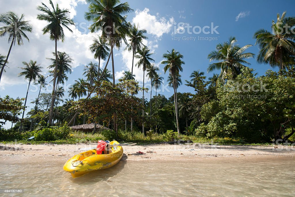 Kayak on an uninhabited island, Koh Man Nai, Trat, Thailand stock photo