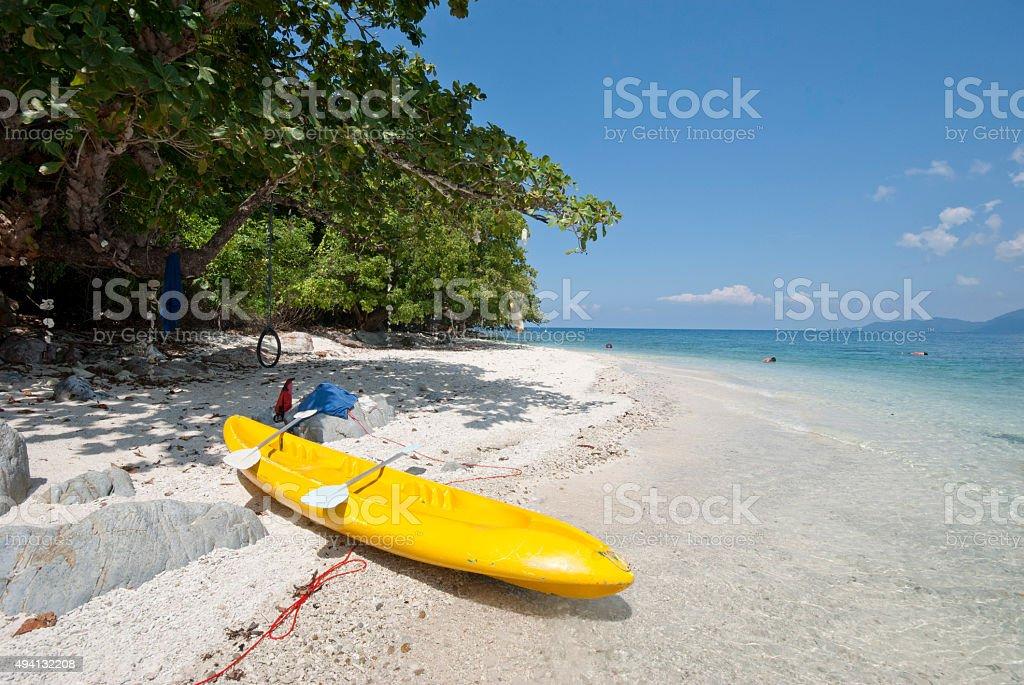 Kayak on an uninhabited island, Koh Yuak, Trat, Thailand stock photo