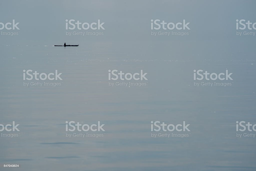 Kayak on Glassy Baltic Sea stock photo