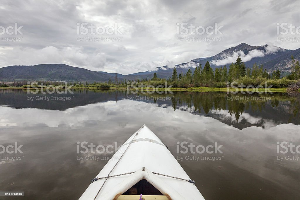 kayak on Lake Dillon stock photo