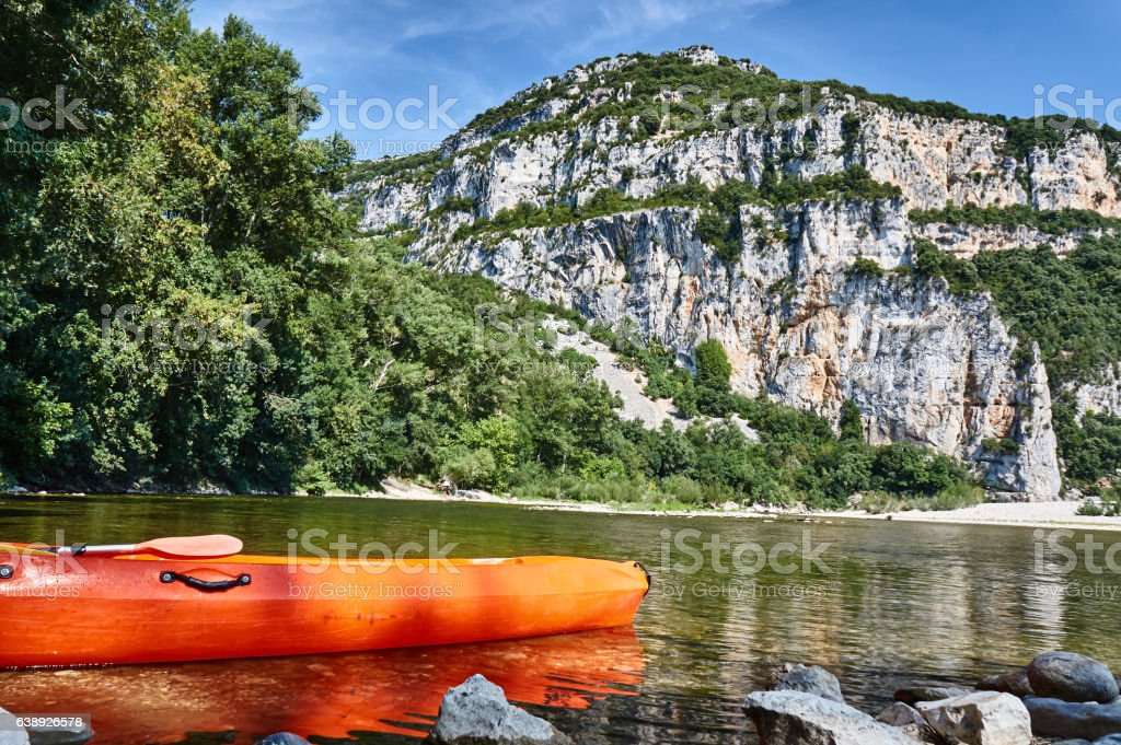 Kayak on the bank of river Ardeche stock photo