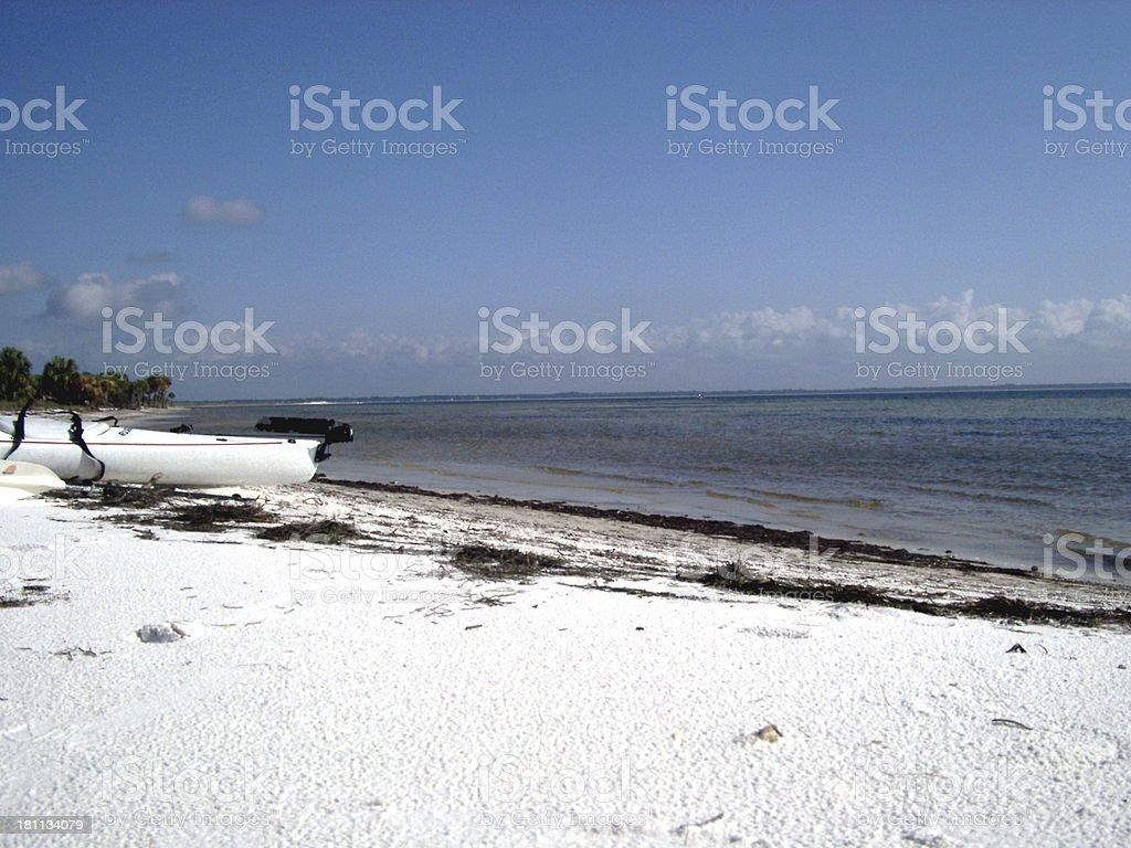 kayak on the beach II stock photo