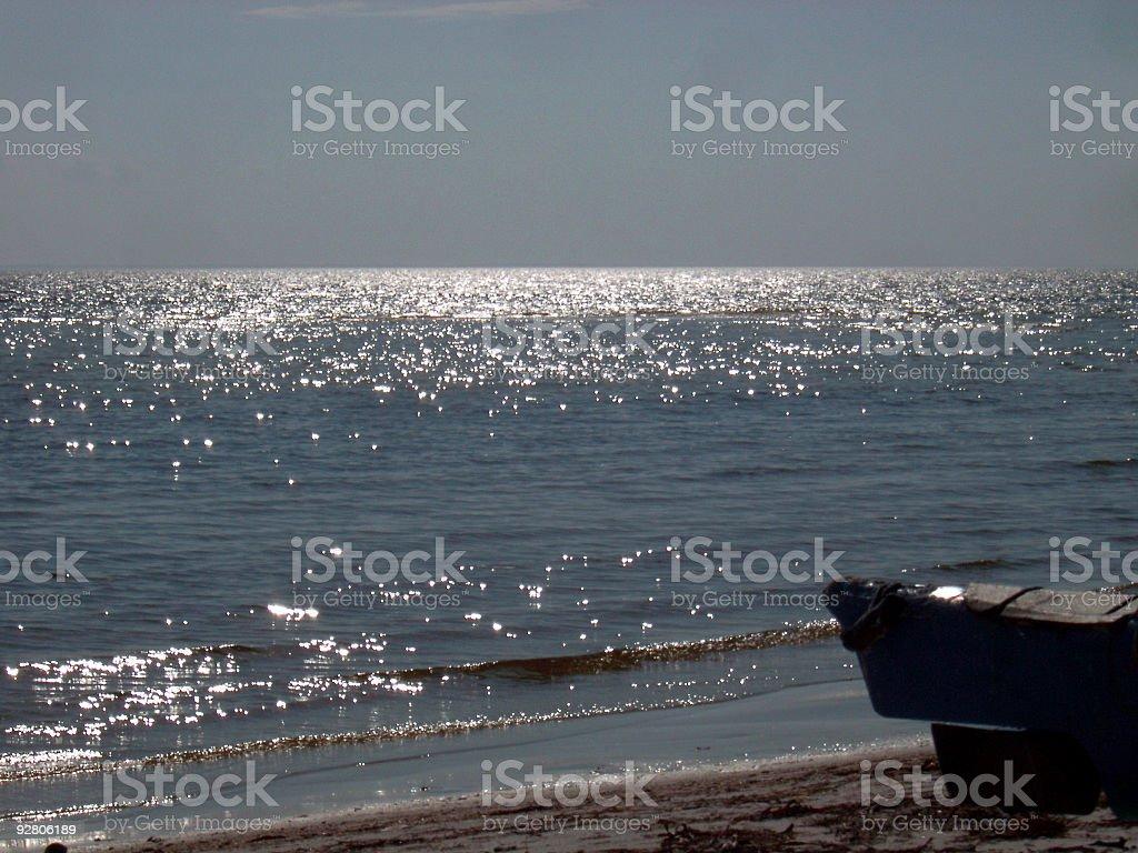 kayak on the beach III stock photo