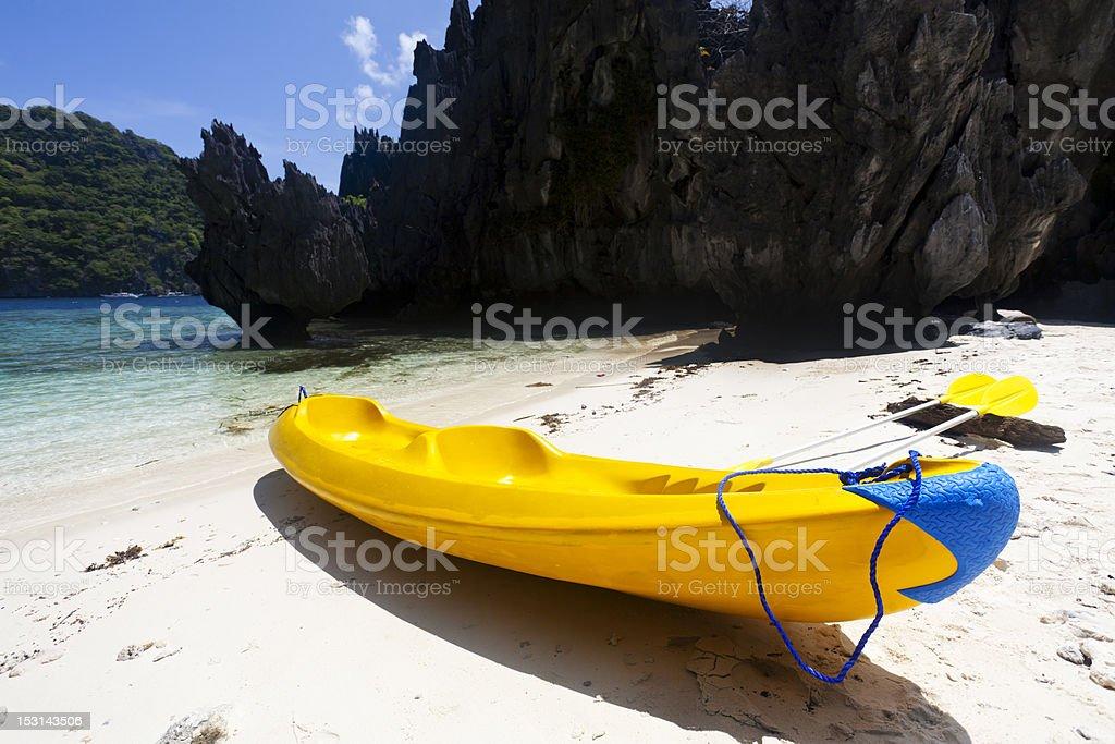 Kayak on the beach royalty-free stock photo