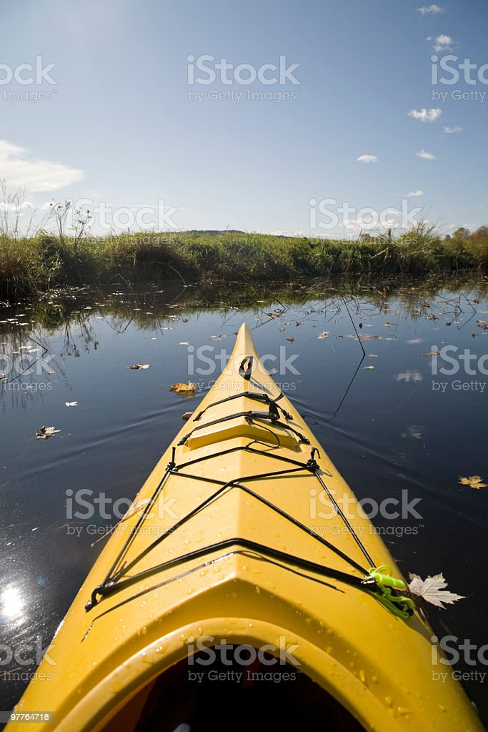 Kayak on the river. stock photo
