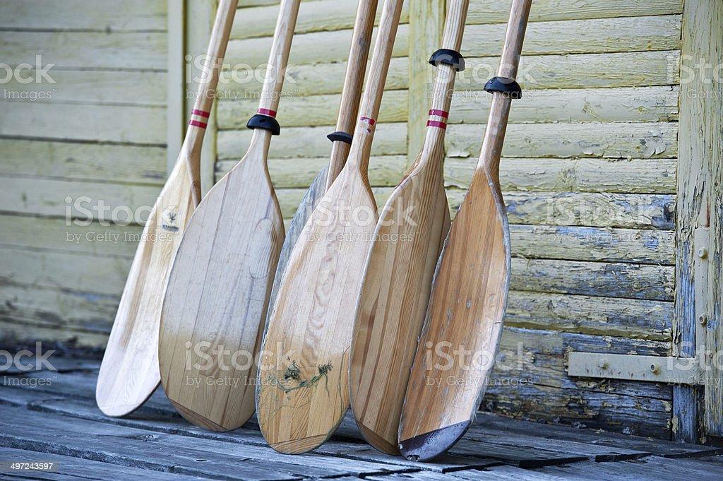 Kayak paddles oars stock photo