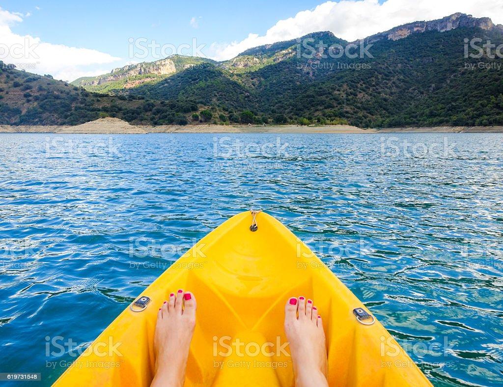 kayak pantano siurana catalonia foots yellow wave stock photo