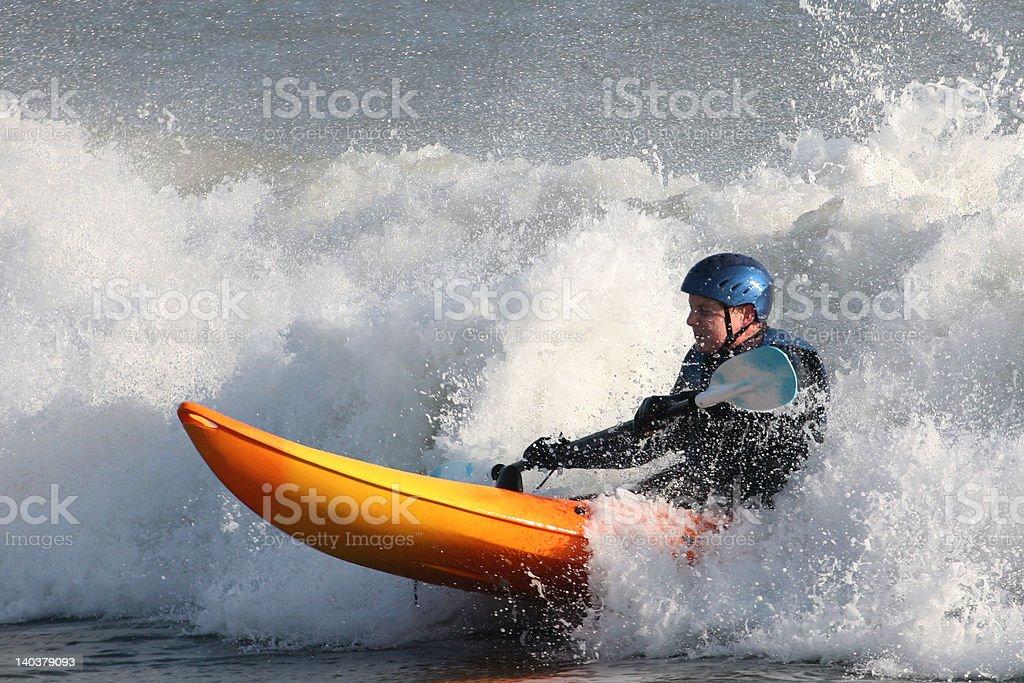 Kayak Surfing royalty-free stock photo