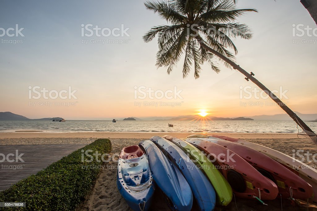 kayak under a palm tree on sand beach stock photo