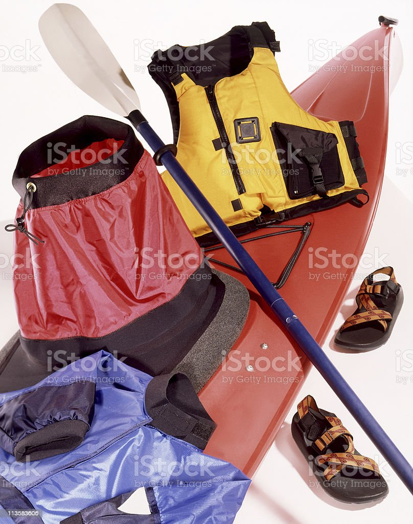 kayak with gear royalty-free stock photo