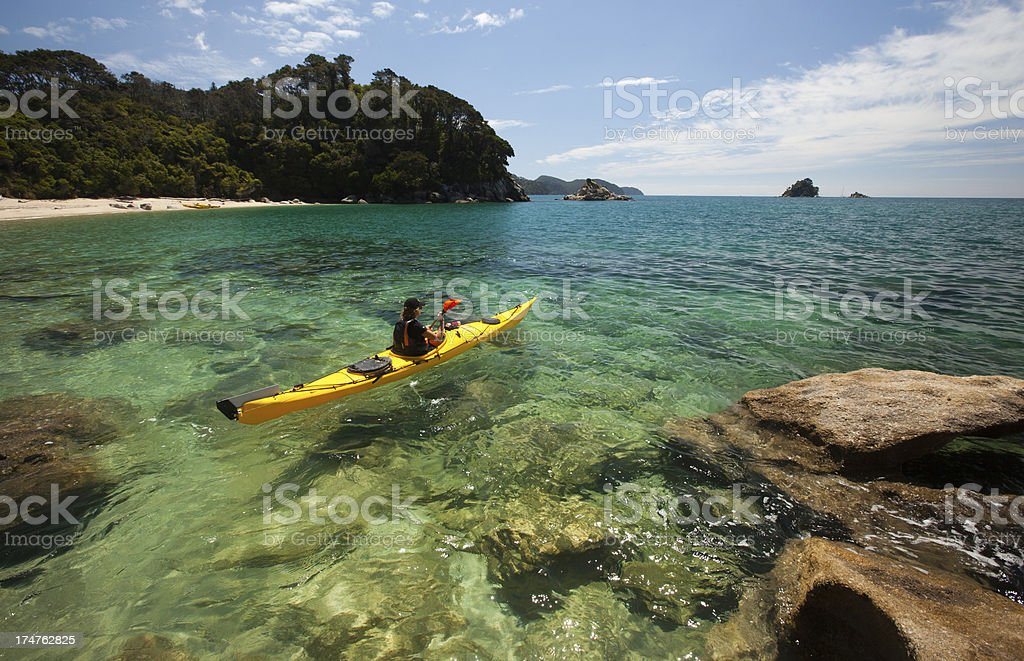 Kayaker, Abel Tasman National Park, Nelson, New Zealand stock photo