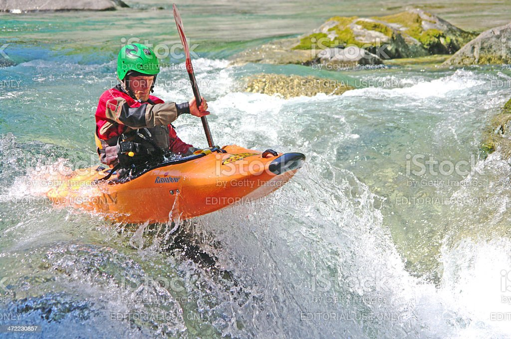 Kayaker down the river stock photo