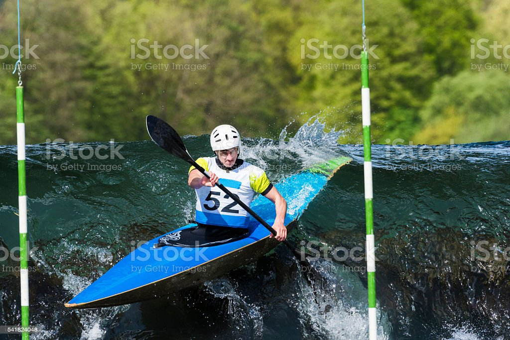 Kayaker entering to whitewater stock photo