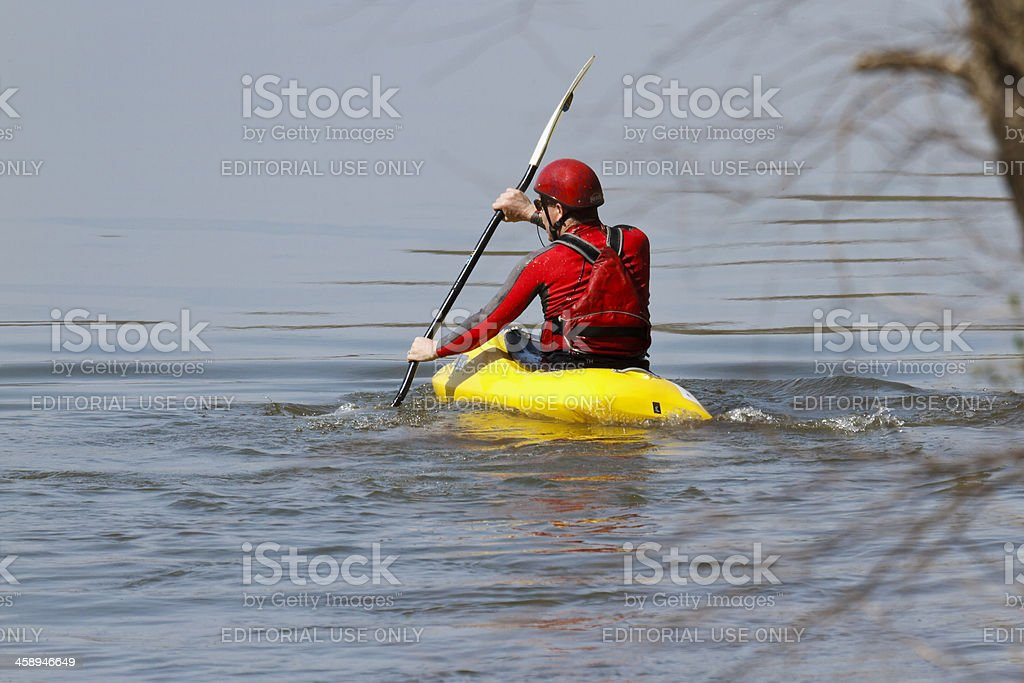 Kayaker Heads Out To Practice Recovering From a Capsize stock photo