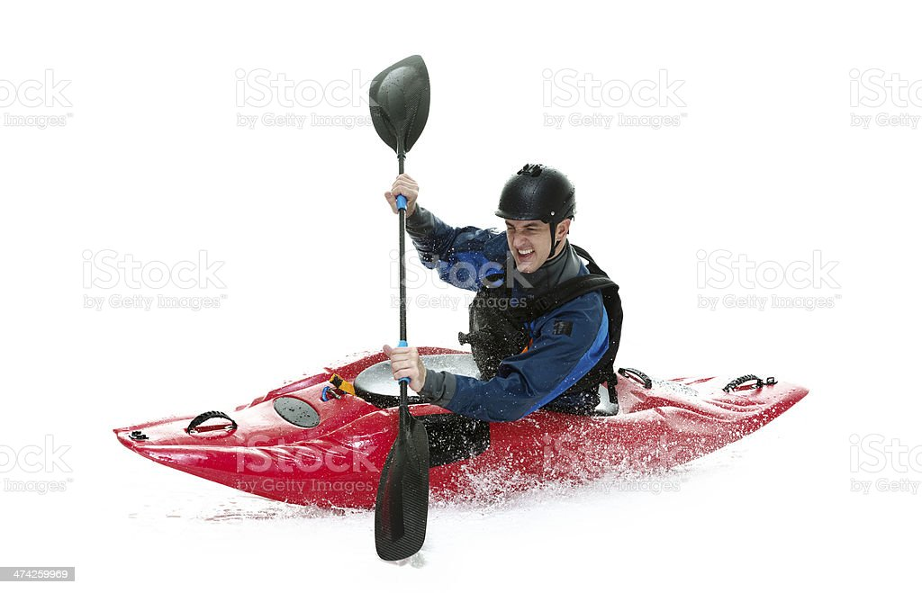 Kayaker in action stock photo