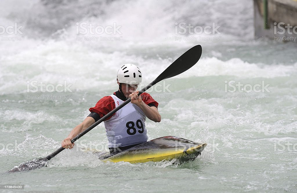 Kayaker in red royalty-free stock photo