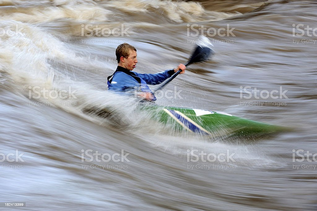 Kayaker  in the wild water royalty-free stock photo