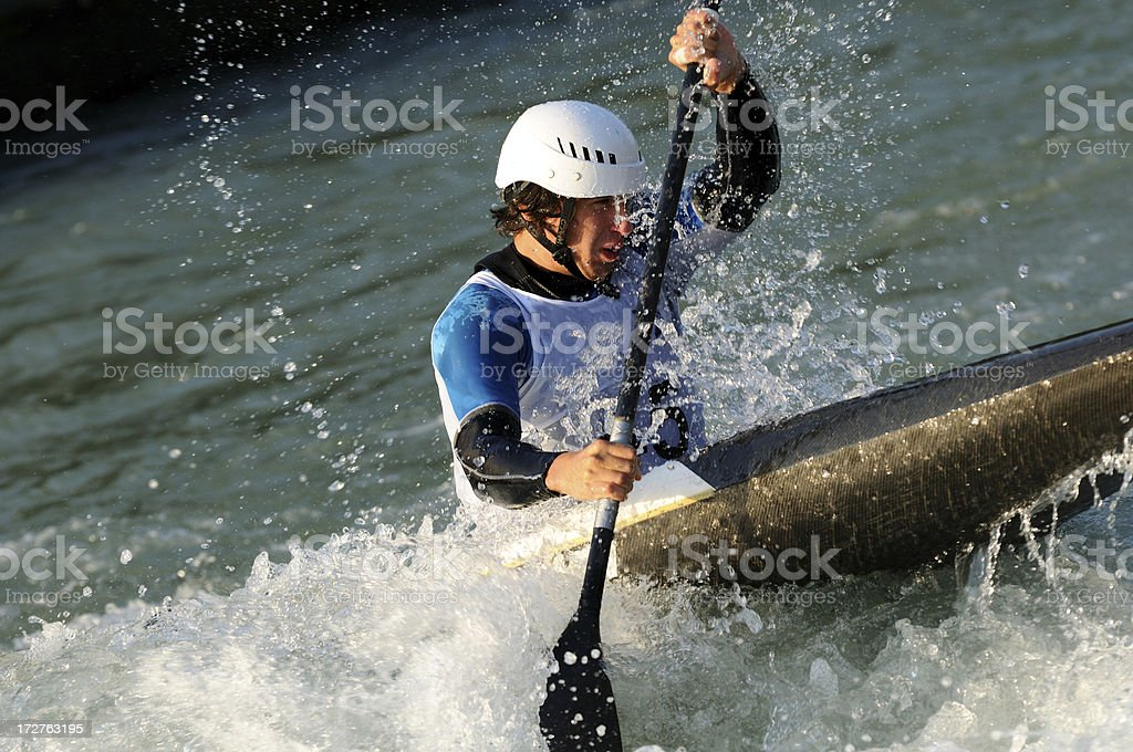 Kayaker in whitewater royalty-free stock photo