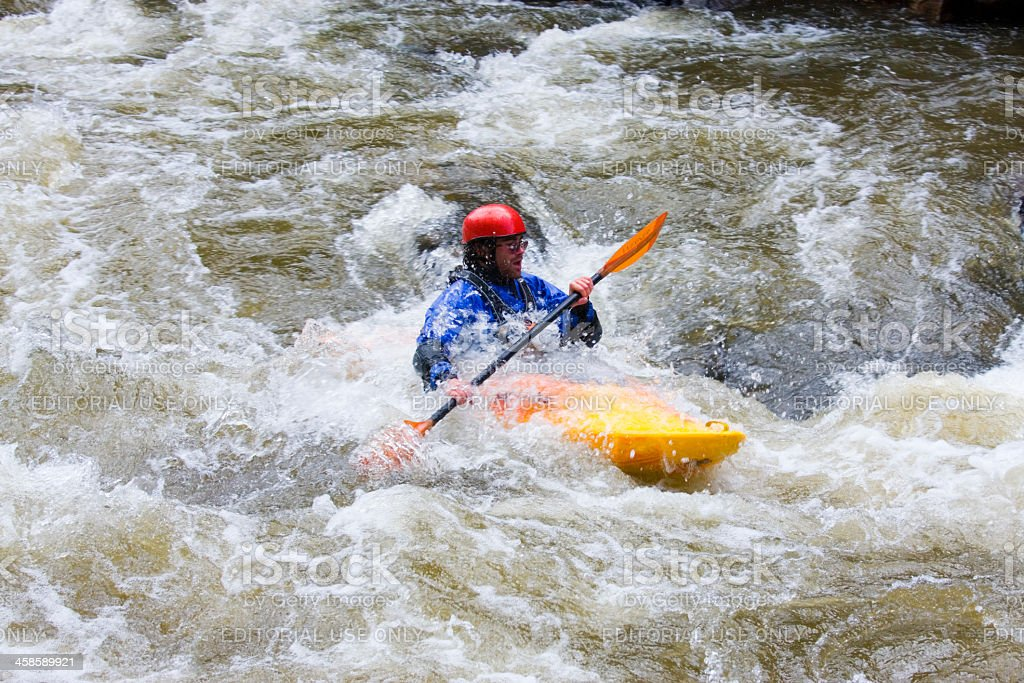 Kayaker in Whitewater royalty-free stock photo
