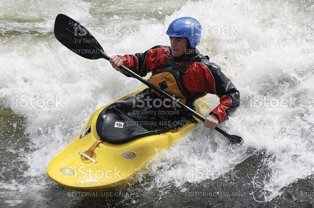 Kayaker on Lochsa River royalty-free stock photo