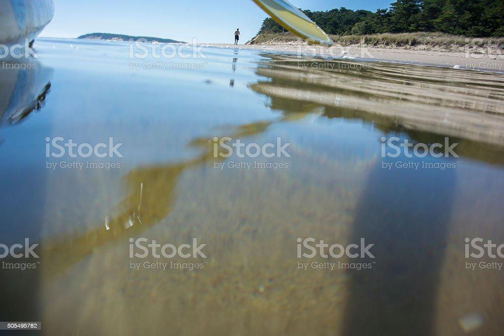 Kayaker on the Water in Wellfleet Harbor stock photo