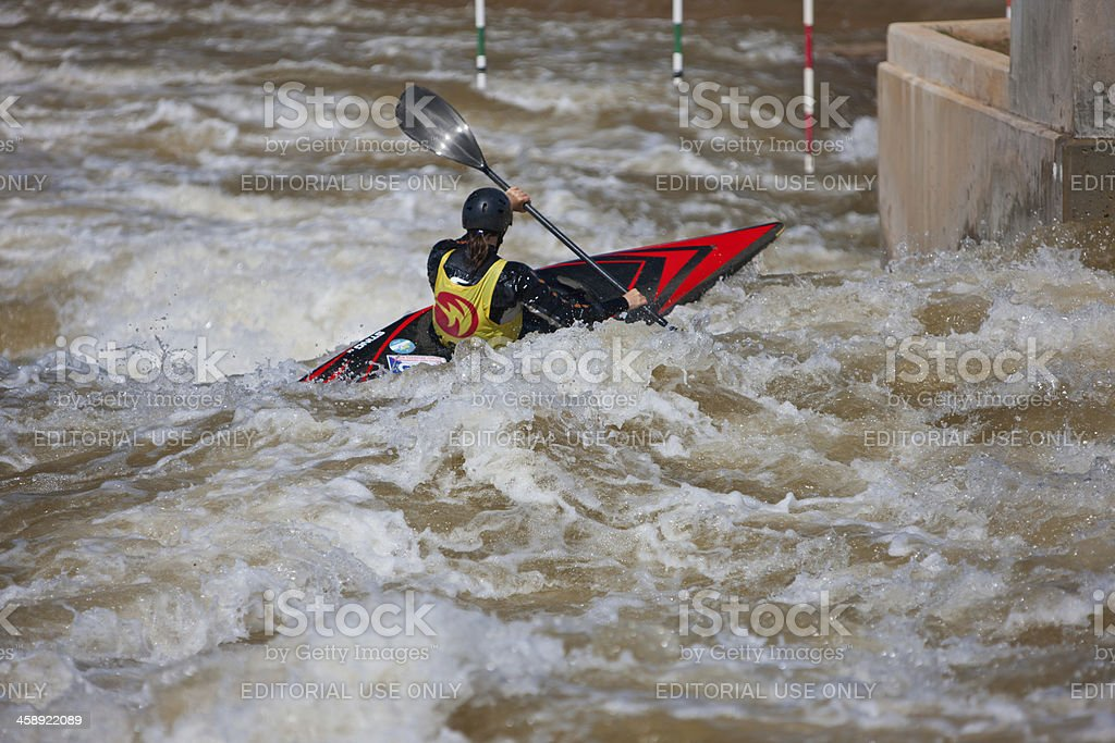 Kayaker Pauses Before A Rapid royalty-free stock photo
