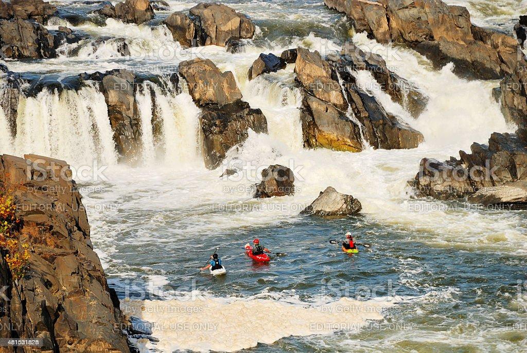 Kayakers at Great Falls National Park in Virginia stock photo