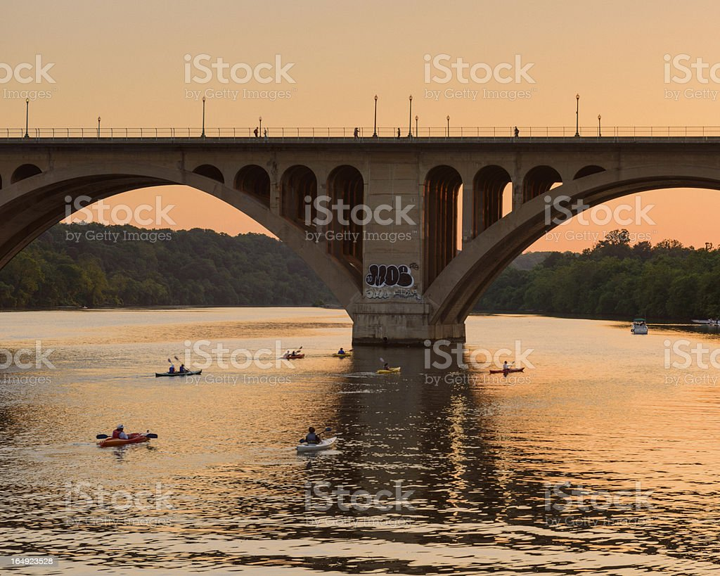 Kayakers At Sunset On The Potomac River royalty-free stock photo