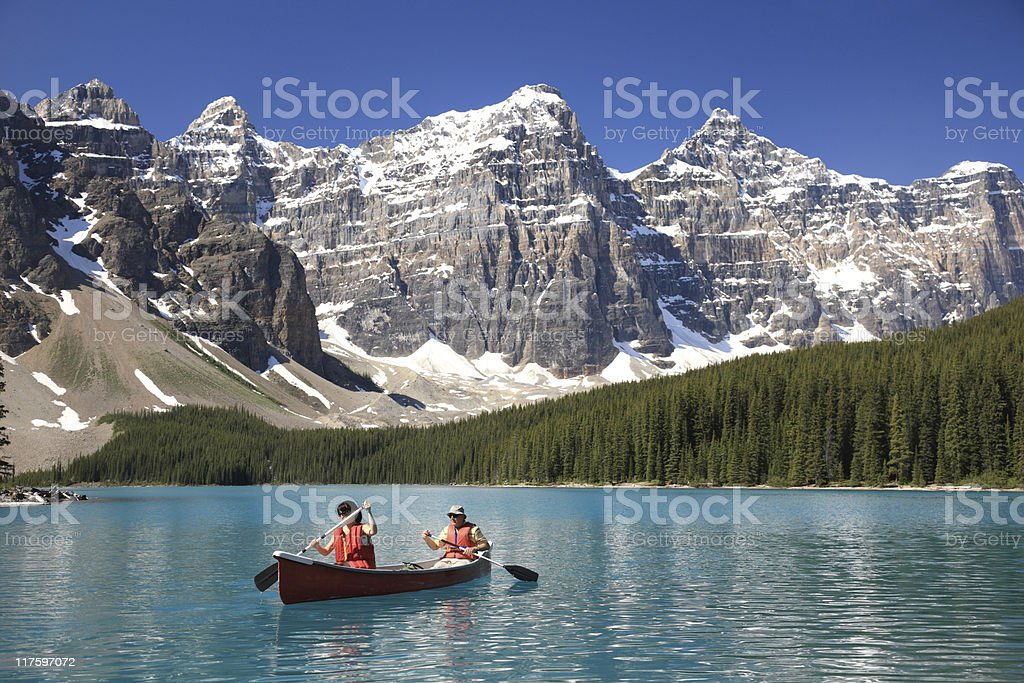 Kayakers, Canadian Rockies stock photo