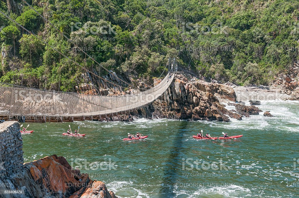 Kayakers entering the Storms River gorge stock photo