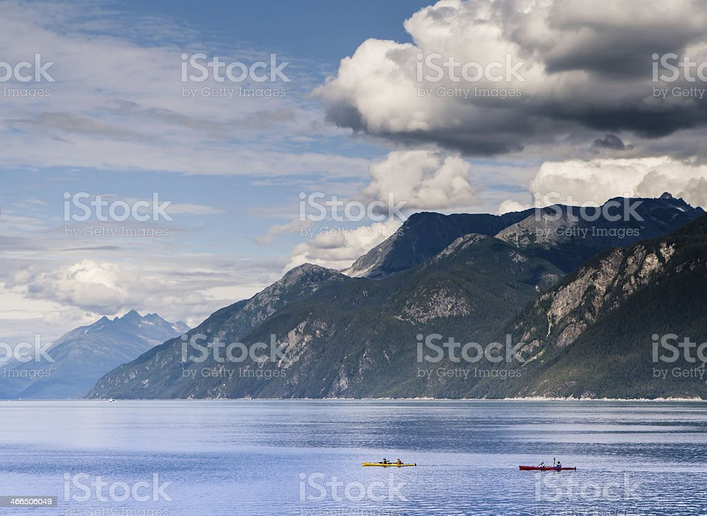 Kayakers in Portage Cove stock photo