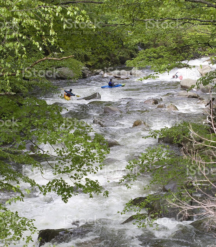 Kayakers in the Smoky Mountains royalty-free stock photo