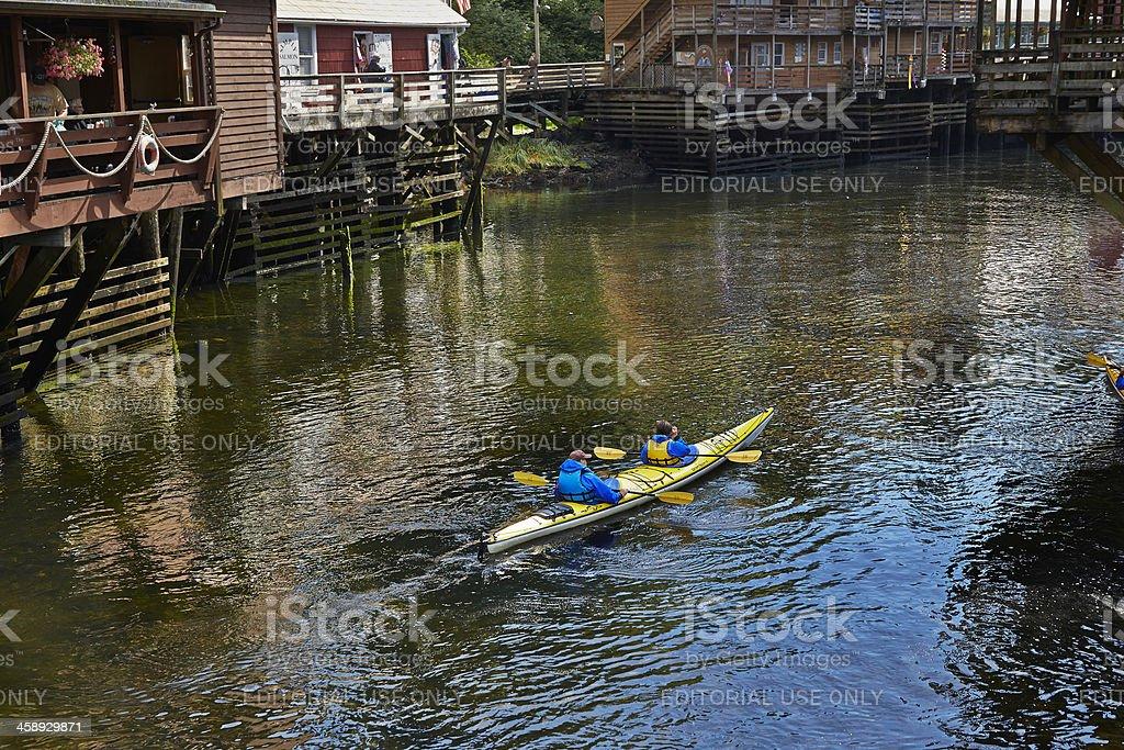 Kayakers On Ketchikan Creek, Alaska stock photo