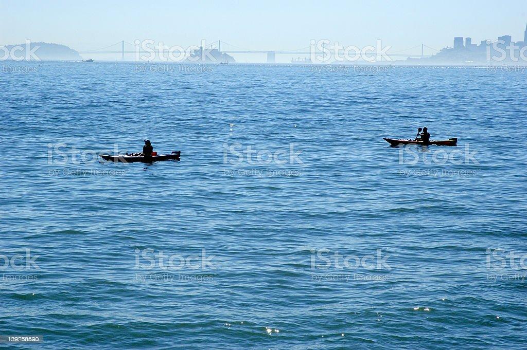 Kayakers silhouette stock photo