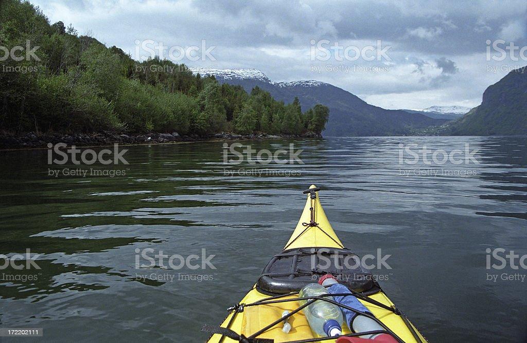 Kayaking a Fjord royalty-free stock photo