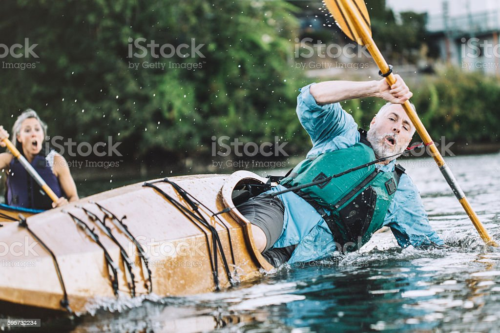 Kayaking Accident stock photo