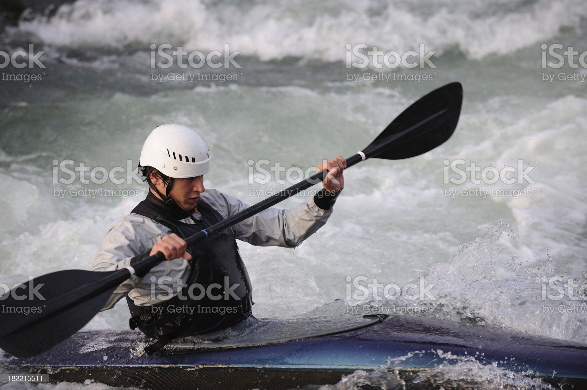 Kayaking action royalty-free stock photo