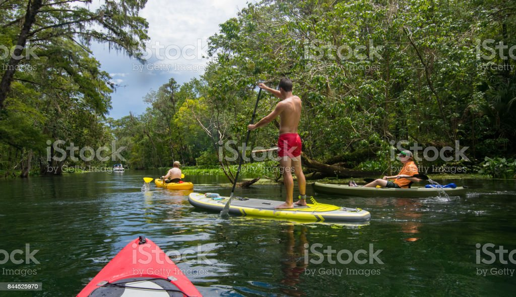 Kayaking and Paddleboarding on Silver River stock photo