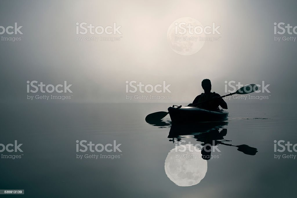 Kayaking and The Super Moon stock photo