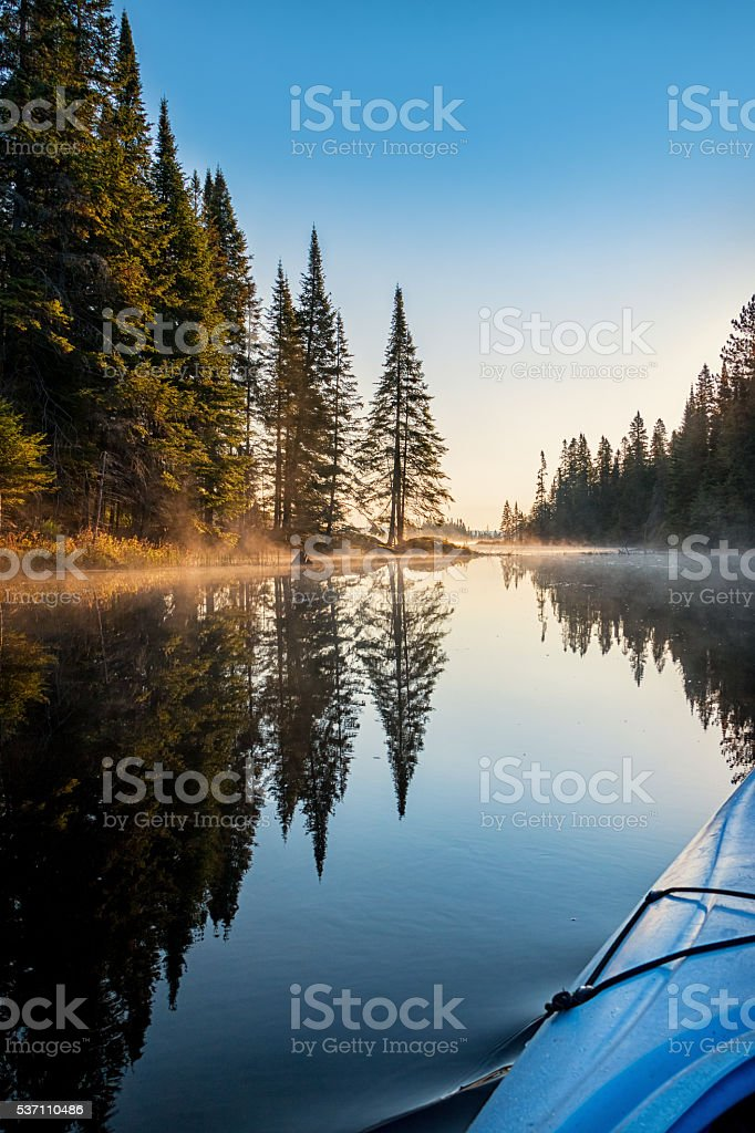 Kayaking at a Wilderness Lake Algonquin Provincial Park Ontario Canada stock photo