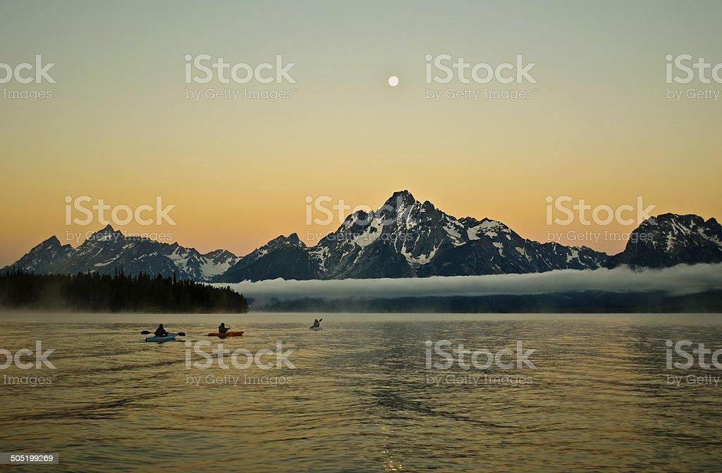 Kayaking at Dawn stock photo