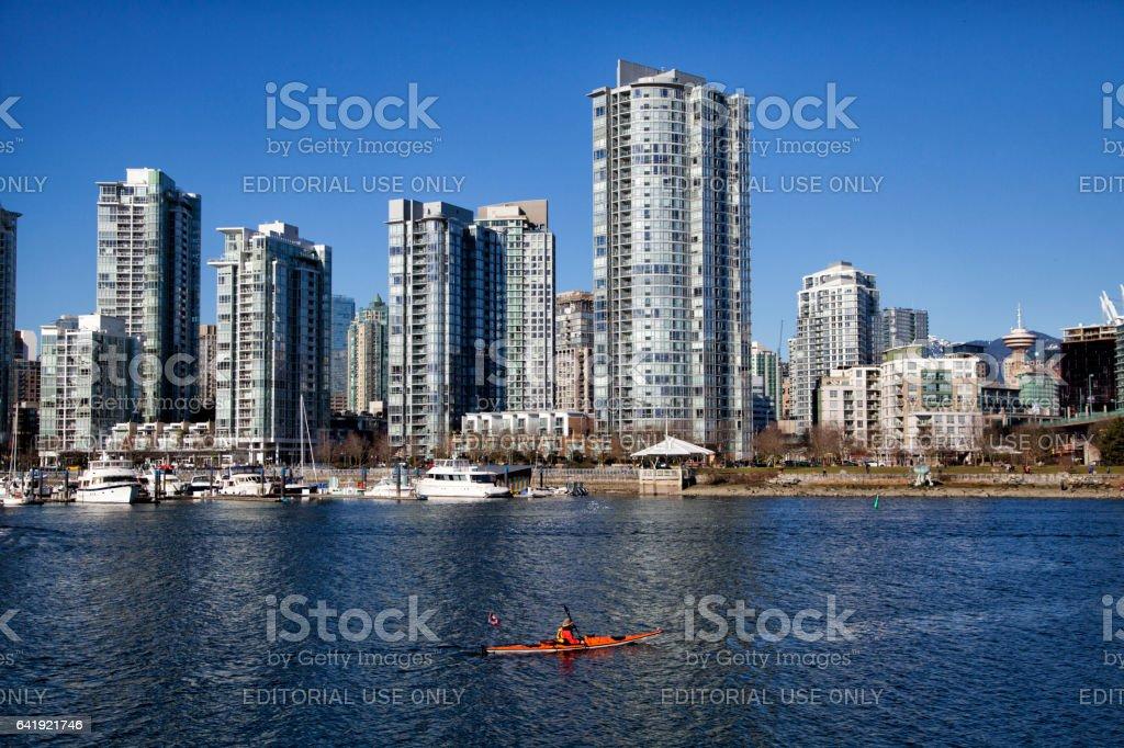 Kayaking at False Creek in winter,Vancouver,Canada stock photo
