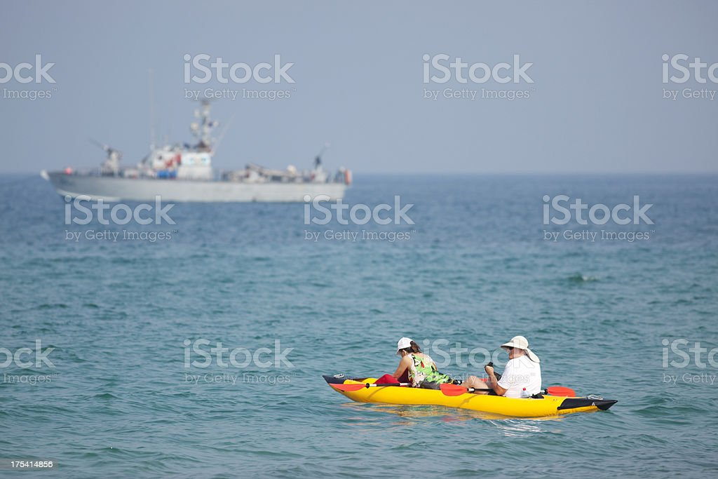 Kayaking at Middle East. royalty-free stock photo