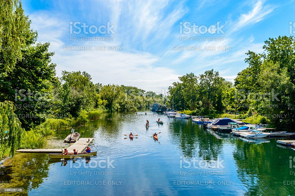 Kayaking between the Toronto Islands stock photo