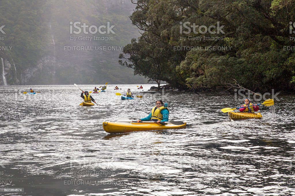 Kayaking in Doubtful Sound stock photo
