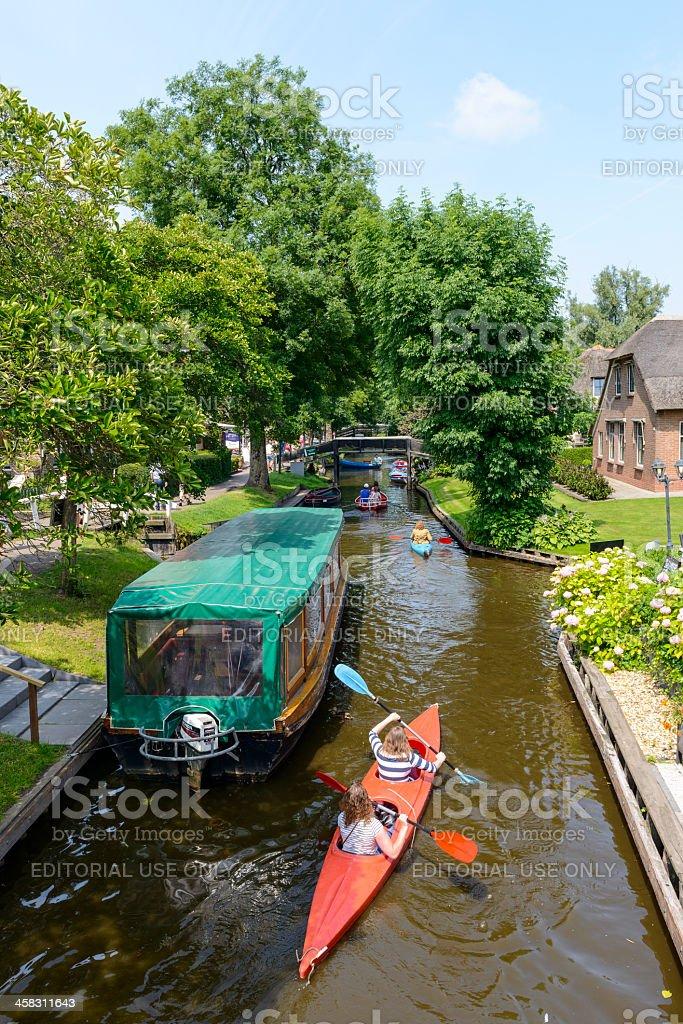 Kayaking in Giethoorn royalty-free stock photo
