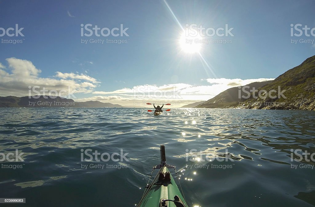 Kayaking in Greenland stock photo