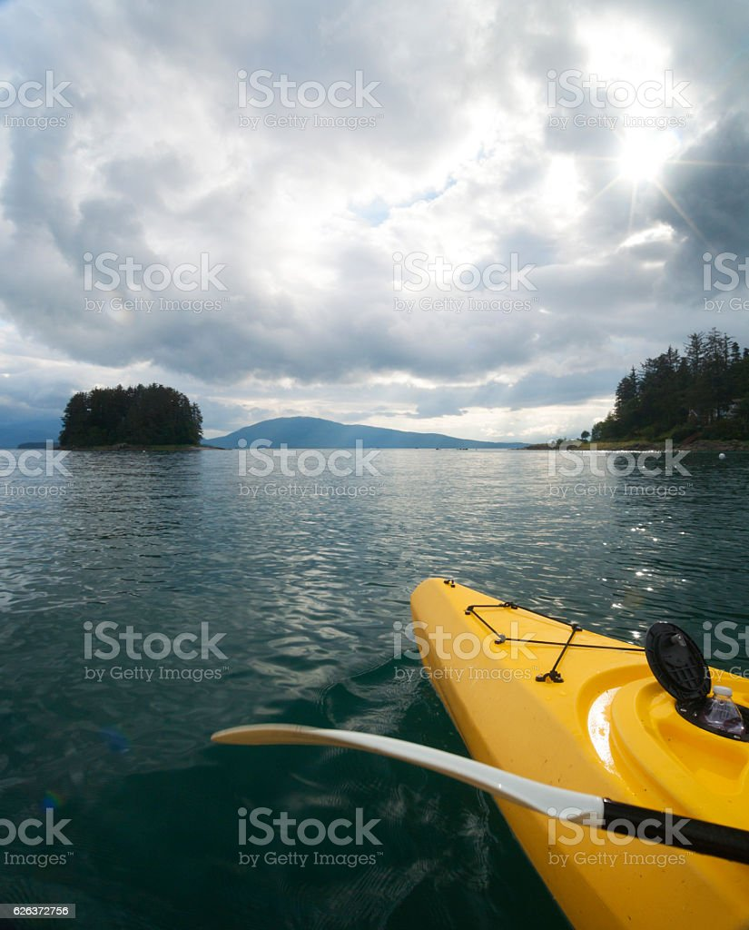 Kayaking in Indian Cove, Juneau stock photo
